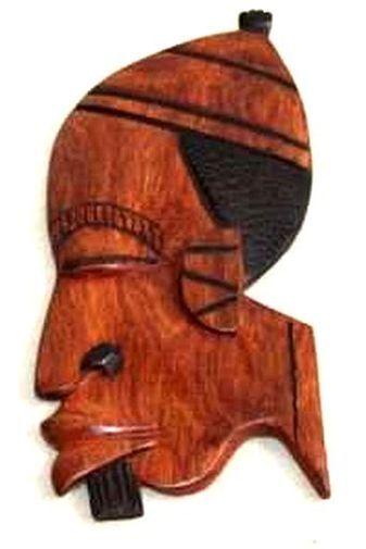 Figurine décorative profil 2 tons en bois teck 3432-AX-203