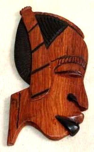 Figurine décorative profil 2 tons en bois teck 3433-AX-204