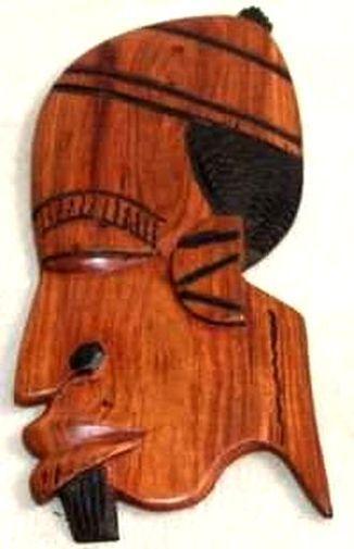 Figurine décorative profil 2 tons en bois teck 3434-AX-205