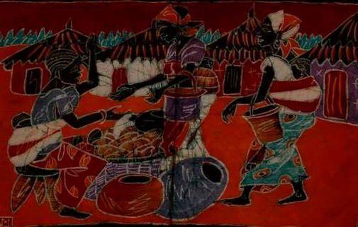 Batik demi moyen modèle - scène de village