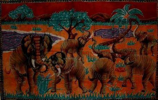 Batik grand modèle - animaux.